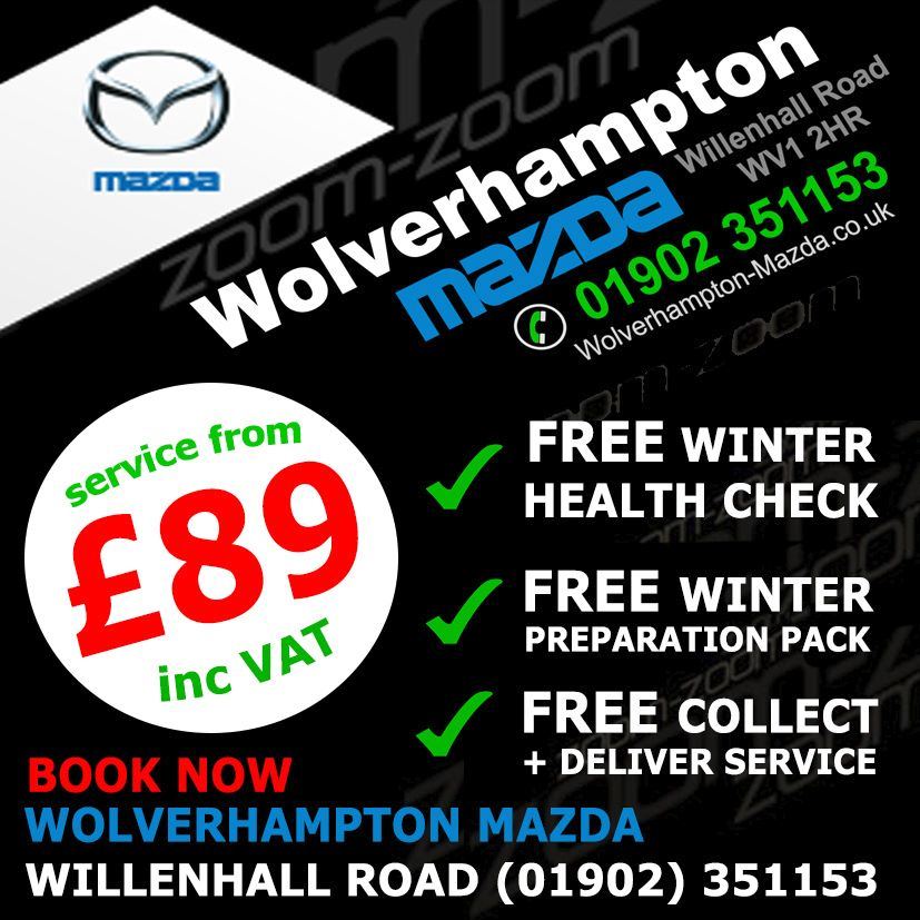 Mazda servicing in Wolverhampton from £89